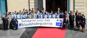Cérémonie des Trophées des champions, remis aux équipes de France militaires et aux athlètes de haut niveau de la Défense, récompensés dans l'amphithéâtre Foch de l'Ecole militaire. Paris, 12 mai 2015.